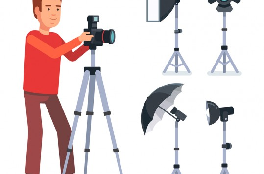 Professional photographer with camera on a tripod and photo studio lighting equipment. Flat style vector illustration isolated on white background.
