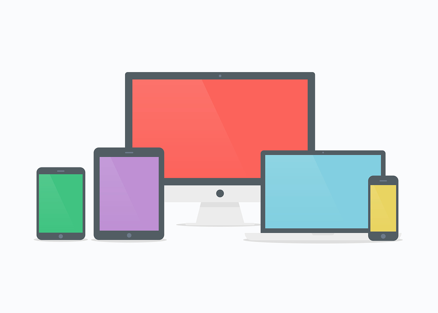 Devices vector illustration. Devices isolated. Devices in flat style. Devices icon. Devices mockup on white background. Mobile devices. Picture computer laptop tablet and phone.