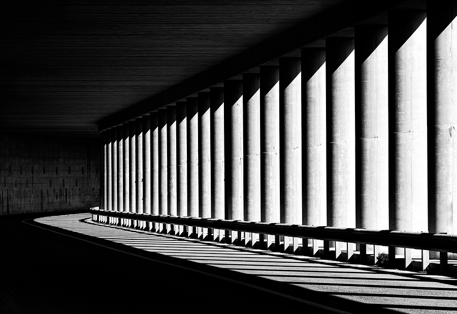 Tunnel with columns in black and white photo, abstract tunnel photo, black and white photo, architecture details close up in black and white, way, road, columns, diagonal, street photography