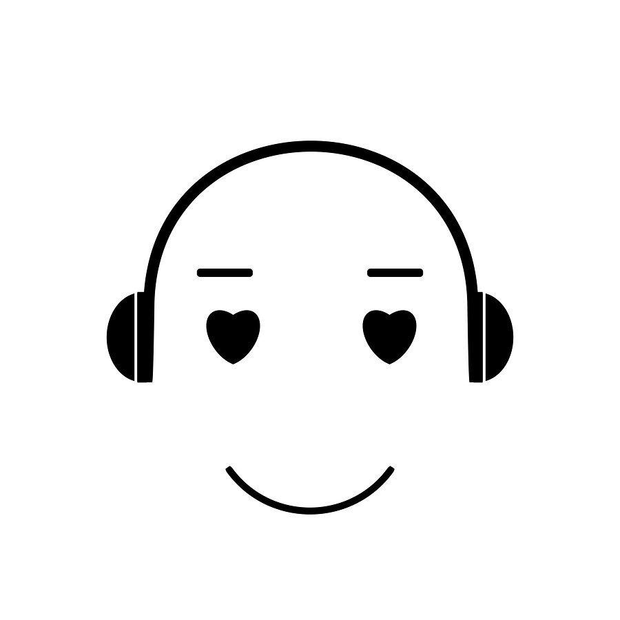 Icon love for music. Face Emoji music lover listens to music with headphones. Emoticon vector illustration. Music icon. Music vector