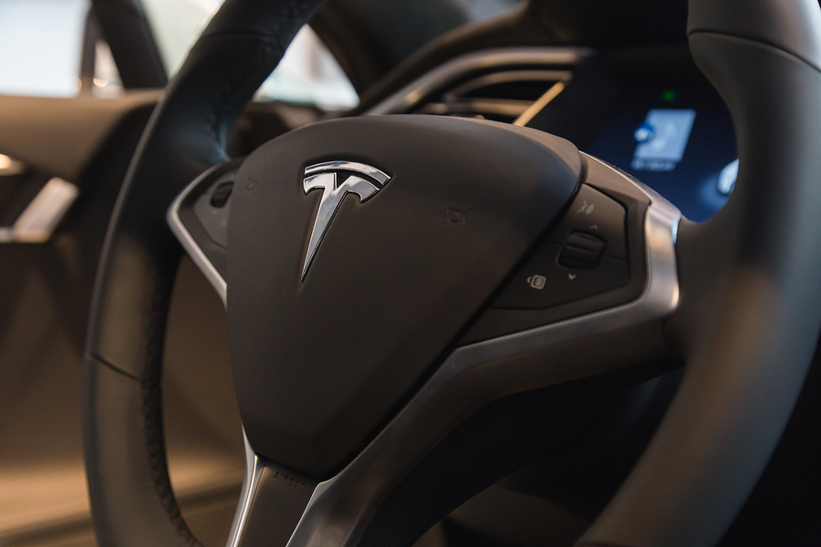 MILAN ITALY - MARCH 31 2016: Interior of Tesla Model S 90D car. Tesla Motors is an American company that designs manufactures and sells cutting edge electric cars.