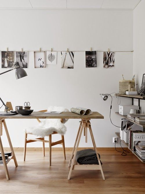 10 ideas para decorar tu espacio home office for Bureau treteau ikea