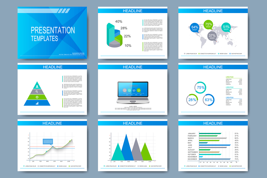 Set of vector templates for presentation slides. Modern business design with graph and charts.