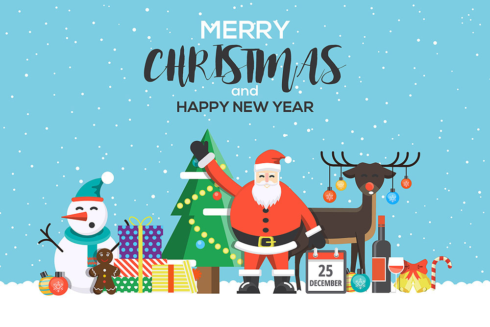 Modern Flat creative Christmas greeting card design. Happy holidays. Can be used as Christmas card, poster, banner, frame. Vector Illustration