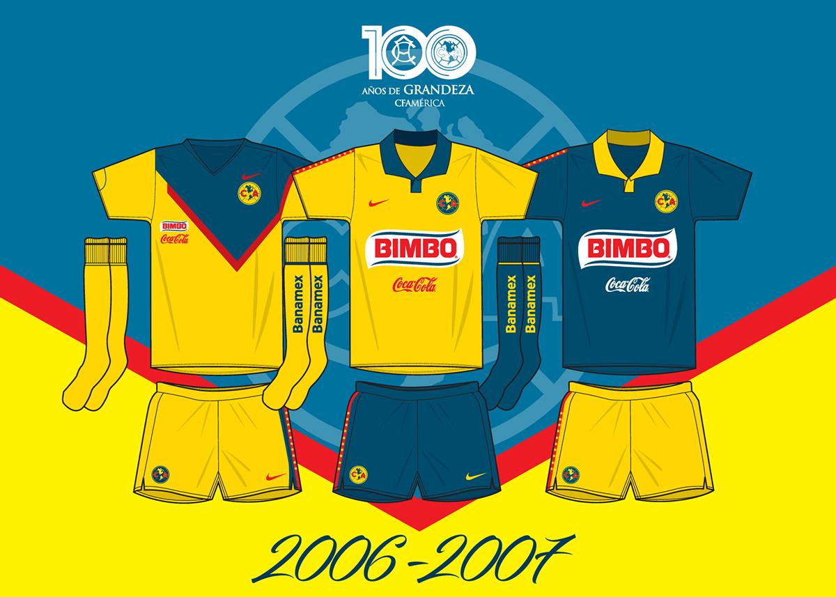 pretty nice d881e 81b05 Las playeras del Club América a cien años de su fundación ...