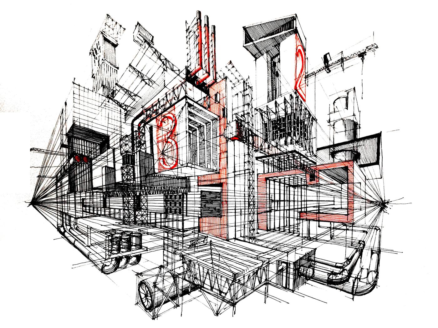 Vistosos modelos arquitect nicos en tinta Cuantas materias tiene arquitectura