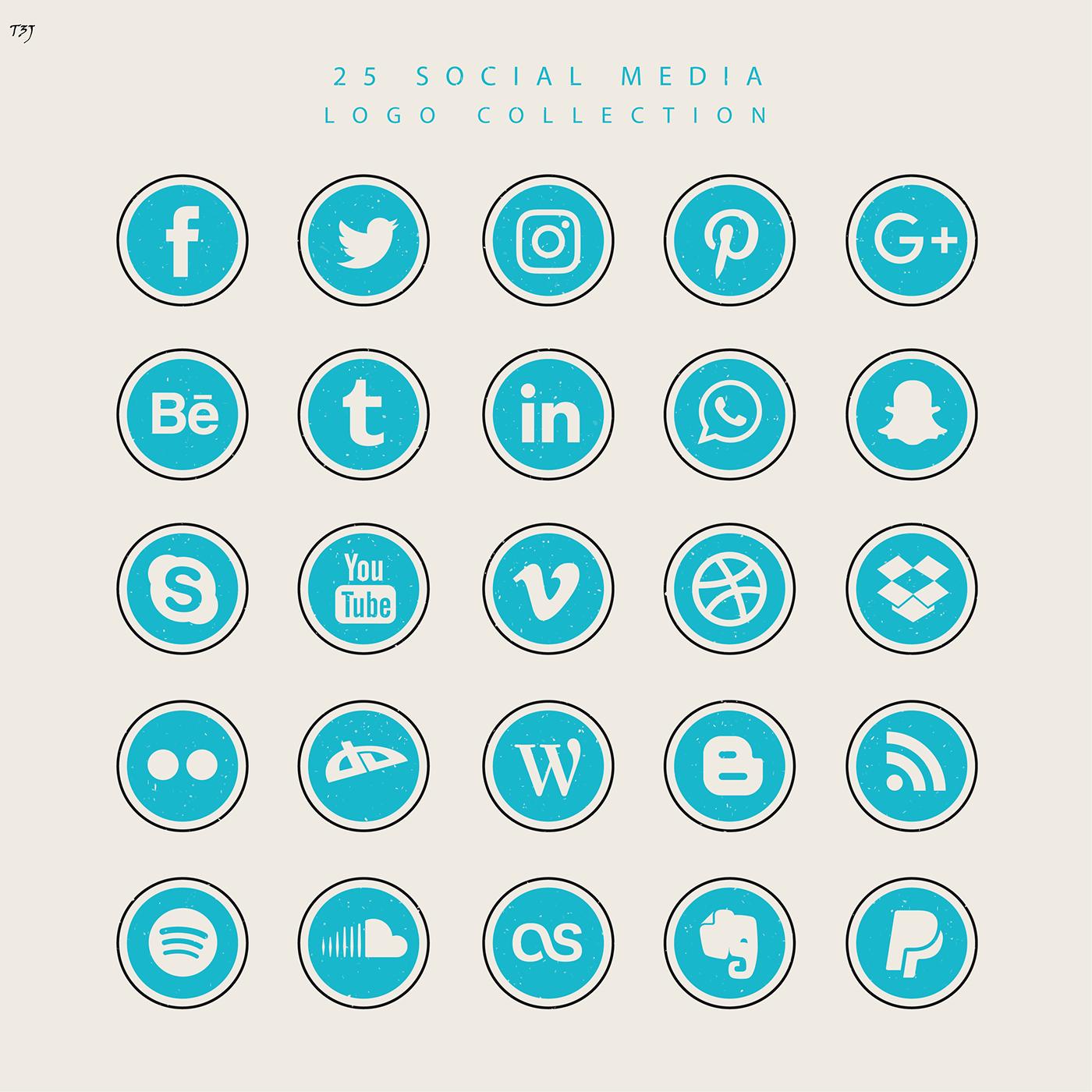 Iconos flat libres describen a las redes sociales y