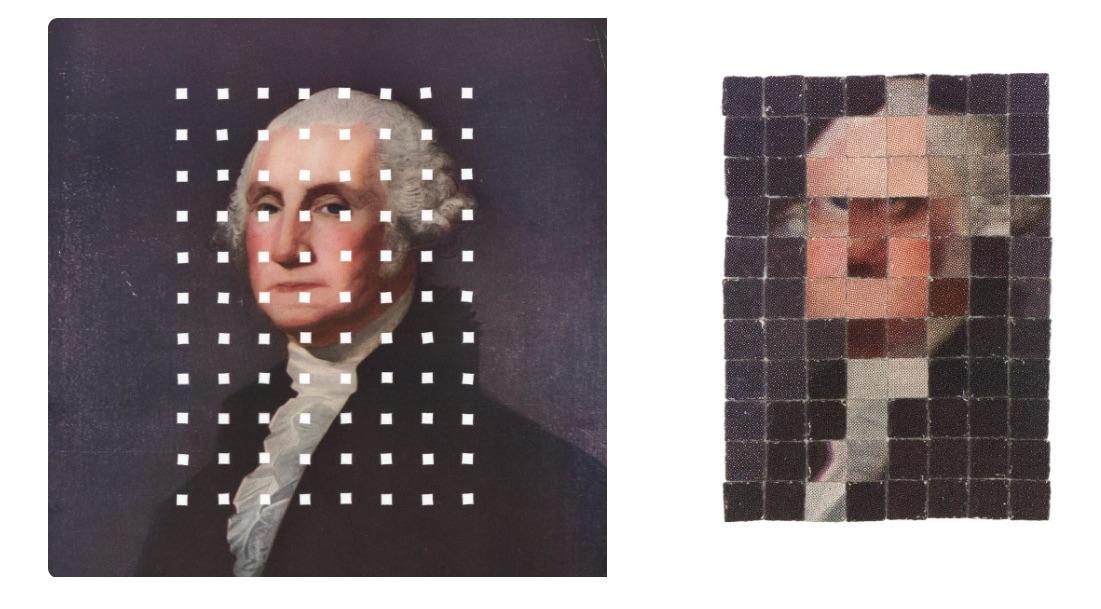 """El artista Kensuke Koike muestra cómo """"pixelear"""" una imagen impresa con sólo perforarla, un truco bastante creativo e ingenioso."""