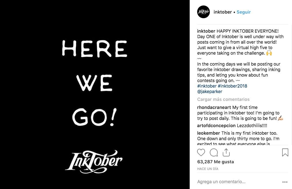 Inktober 2018 inició ayer, y cientos de ilustradores están compartiendo sus creaciones para unirse a este challenge que dura 31 días.
