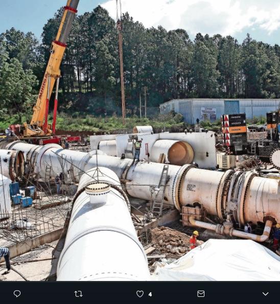 La K invertida es el tubo que se reemplazaría en el sistema Cutzamala, al instalarlo éste no empalmó y ocasionó un retraso en el corte de agua de la CDMX.