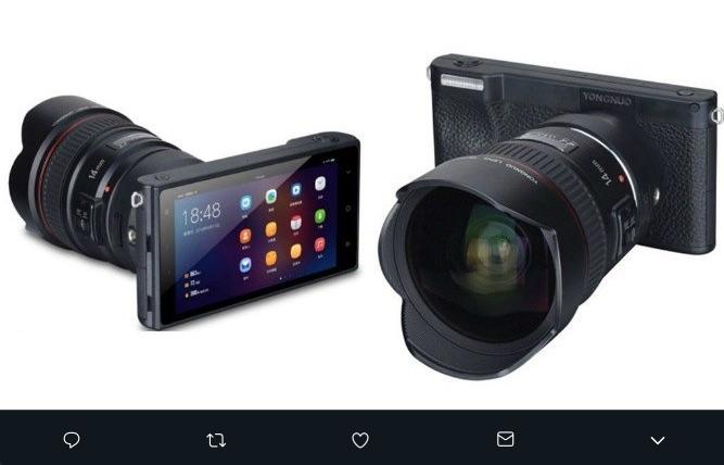 Yongnuo presentó una cámara profesional sin espejos que parece tener apariencia de smartphone, usará el sistema operativo Android 7.1