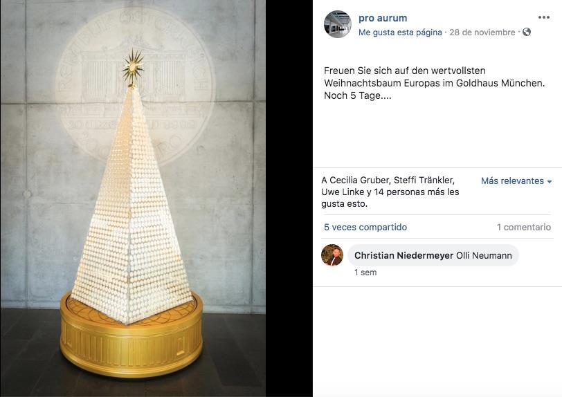 La compañía alemana Pro Aurum, creó Árbol de Navidad más caro de Europa, más allá del diseño, el tema se convirtió en polémica.