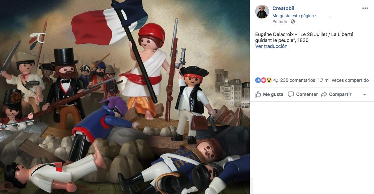 La cuenta de Creatobil retoma algunas figuras de playmobil para recrear escenas famosas que los artistas plasmaron en obras de arte.