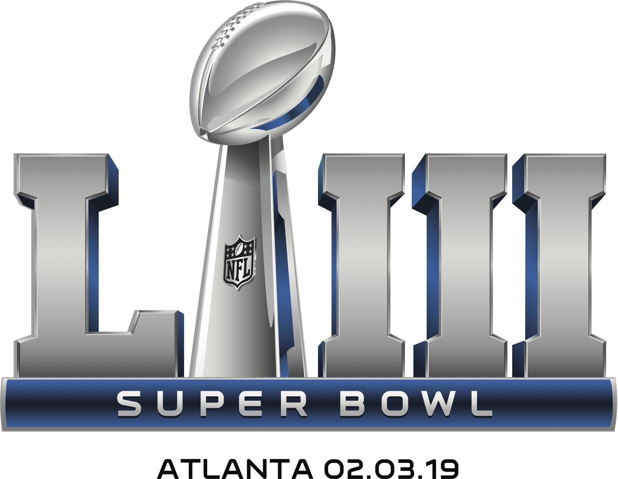 El logo del Super Bowl LIII corresponde a una fórmula similar desde la quincuagésima edición; muestra al trofeo Vincent Lombardi en primer plano.