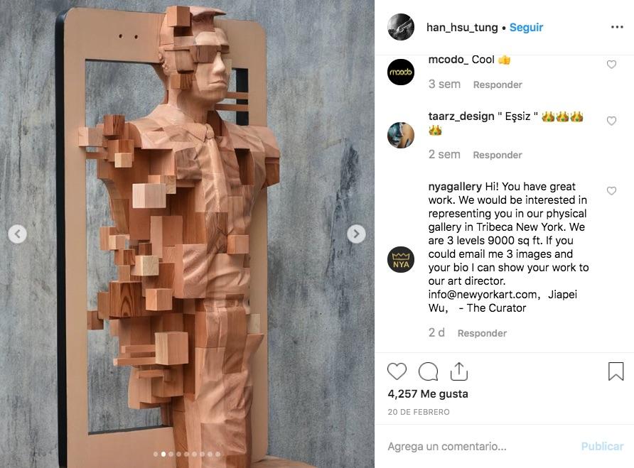 Estas esculturas de madera pixeleadas son el resultado del trabajo del artista taiwanés Hsu Tung Han, las cuales concibe y arma como un rompecabezas.