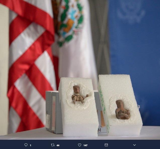 Dos piezas arqueológicas robadas en los años 60s fueron devueltas por el gobierno de EE.UU, ambas son de origen teotihuacano.