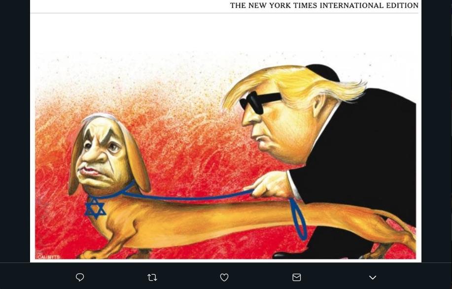 El New York Times retiró una caricatura tras ser acusada de antisemitismo y como consecuencia no publicará más viñetas en su edición internacional.