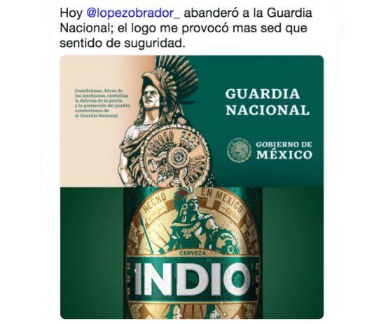 """Algunos usuarios de redes sociales encontraron una similitud con el logo de la Guardia Nacional y el de la cerveza """"Indio""""."""