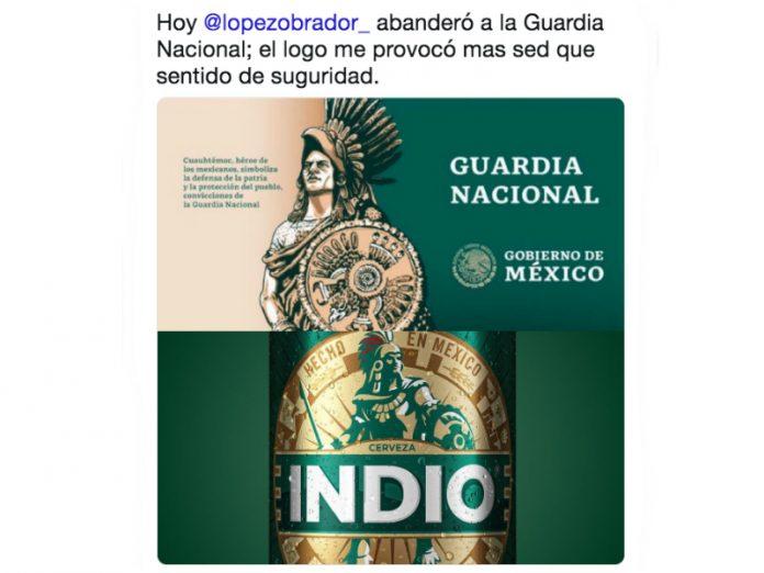 Algunos usuarios de redes sociales encontraron una similitud con el logo de la Guardia Nacional y el de la cerveza
