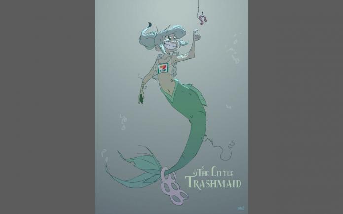 La artista Stephanie Hermes imaginó a una Sirenita contaminada como la representación de la actualidad que se vive en los mares de todo el mundo.