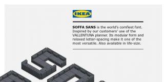 El gigante mobiliario lanzó la tipografía SOFFA Sans, que tiene como objetivo ser la más cómoda del mercado, esta hecha de sillones.