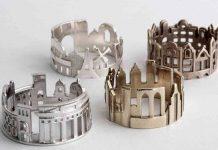 Estos anillos de paisajes urbanistas fueron diseñados por la orfebre Ola Shekhtman, quien ha vivido en distintas partes del mundo.