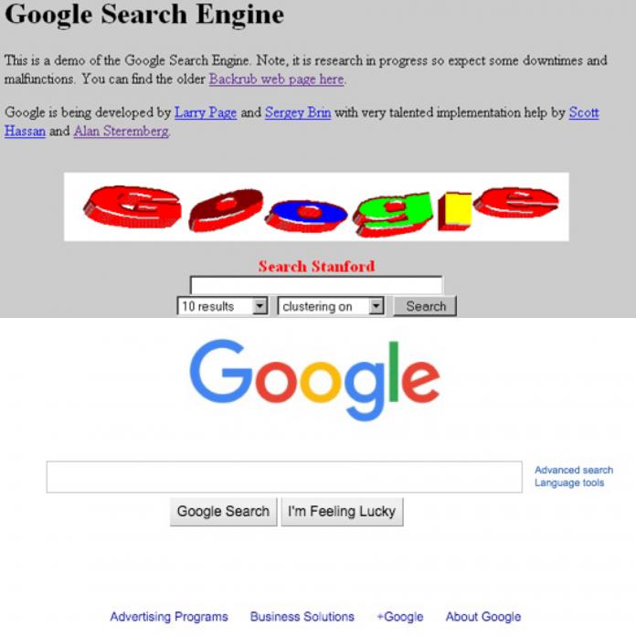 La evolución de Google es sorprendete, de un proyecto universitario a un gigante de la tecnología, en el que su interfaz mantiene un diseño eficaz pero útil.