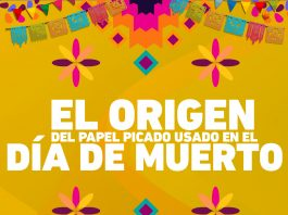 El origen del papel picado proviene de papiros utilizados por los Mexicas en sus rituales y sacrificios, de ahí su importancia en el Día de Muertos.