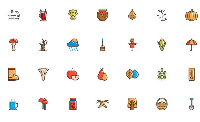 Tener estos iconos de otoño entre tus carpetas te ayudara a facilitar los gráficos que se suelen pedir durante esta temporada.