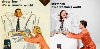 En los 50s los anuncios machistas era comunes, pero este artista decidió intercambiar los papeles de las mujeres por lo de los hombres.