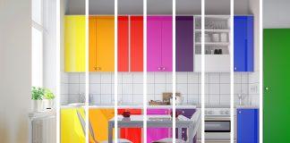 Colores del arcoíris e interiores