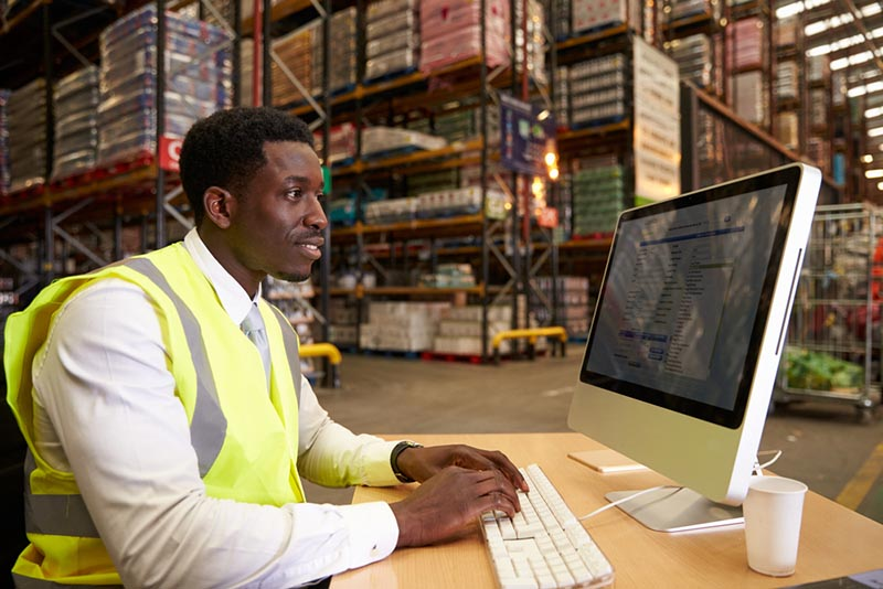 Young man working at computer