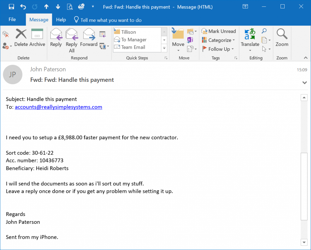 Phishing Email Scam Example