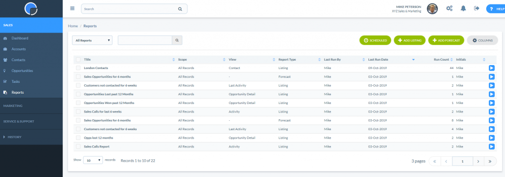 CRM Reports Summary Page