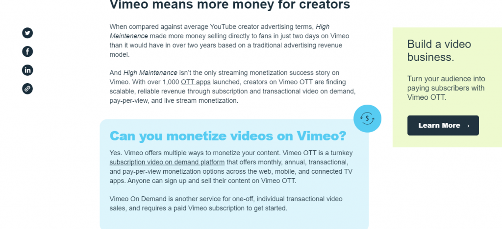Vimeo Call To Action example