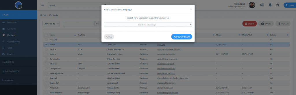 Add a Contact to a Campaign