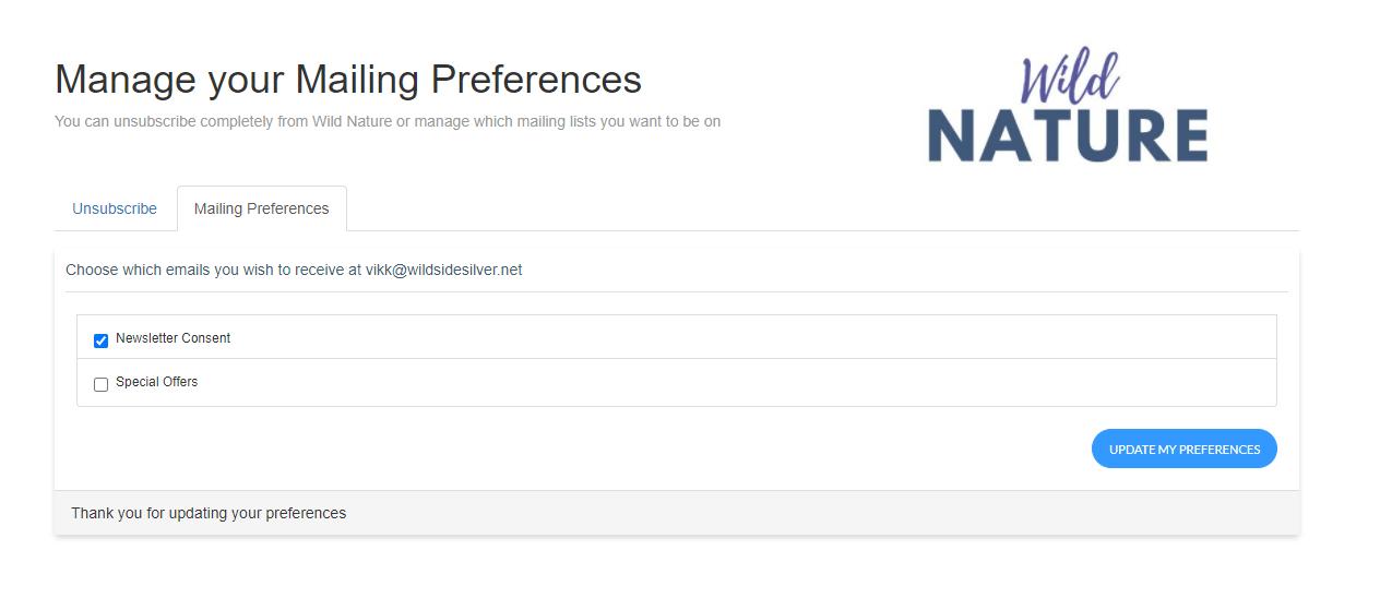 Manage Mailng Preferences