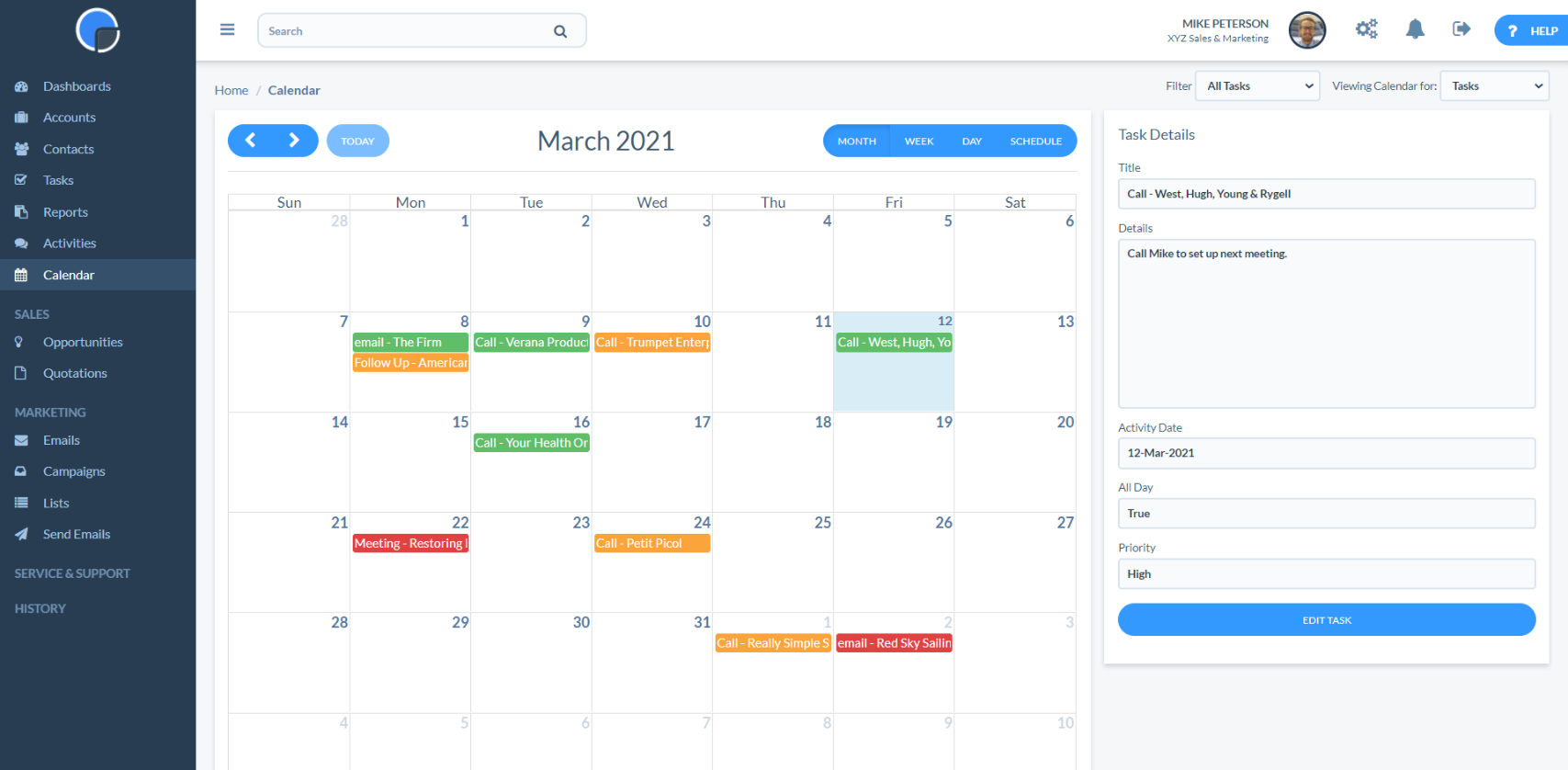 Calendar with Task Open