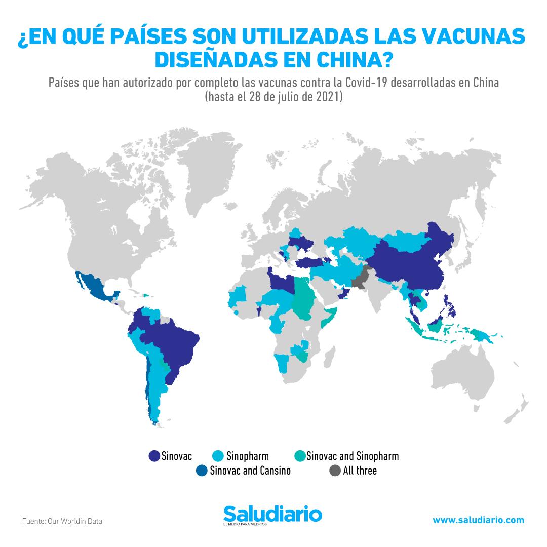 GRÁFICA: Países que aplican vacunas contra la Covid-19 fabricadas en China