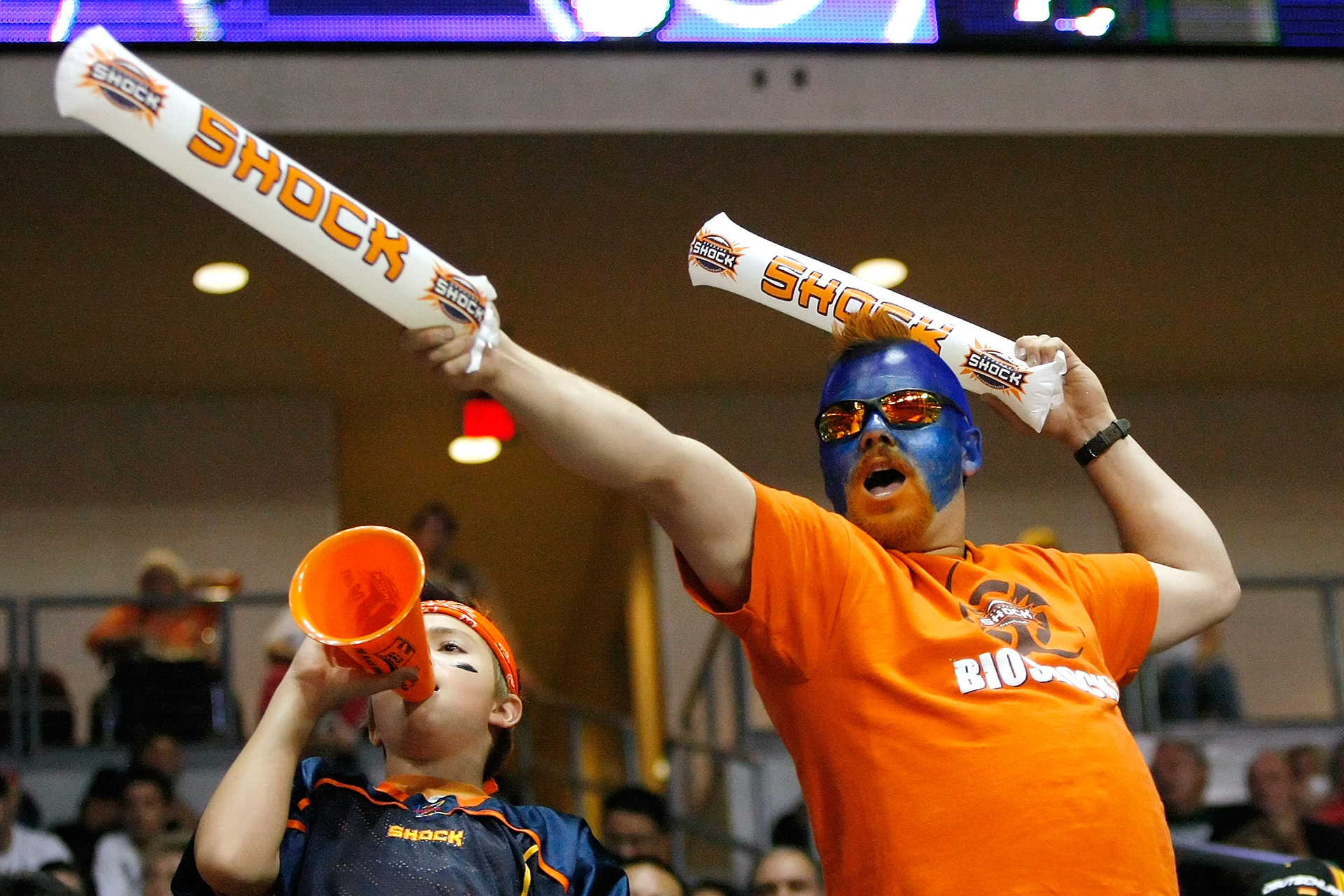 LAS VEGAS - AUGUST 22:  Spokane Shock fans Dakota Bauge (L) and Dan Bauge of Wahington, celebrate after the Shock scored a touchdown against the Wilkes-Barre/Scranton Pioneers during the AFL2 ArenaCup 10 at the Orleans Arena August 22, 2009 in Las Vegas, Nevada. The Shock defeated the Pioneers 74-27.  (Photo by Ethan Miller/Getty Images) *** Local Caption *** Dakota Bauge;Dan Bauge