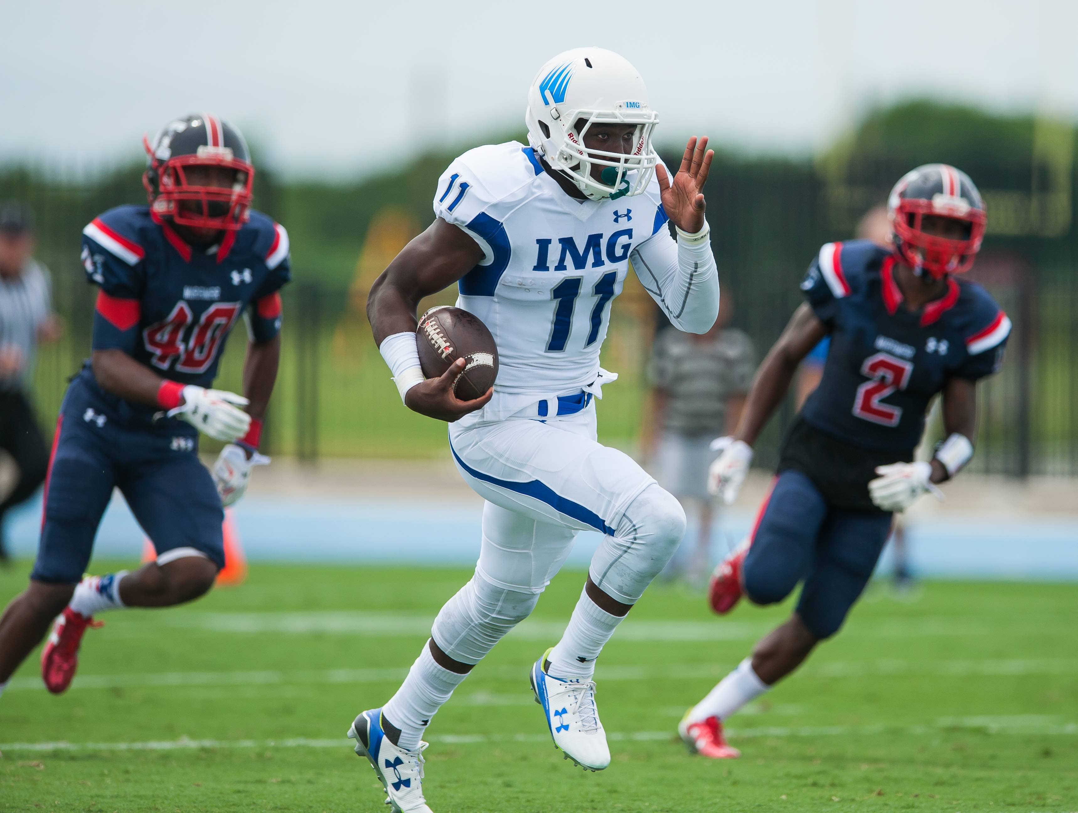 IMG Academy plays Miramar High School at IMG in Bradenton, Fla., on Sunday, August 30, 2015. IMG is the world's largest and most advanced multi-sport and education complex for youth, collegiate, professional and adult athletes. / (August 30, 2015; IMG Photo by Casey Brooke Lawson)