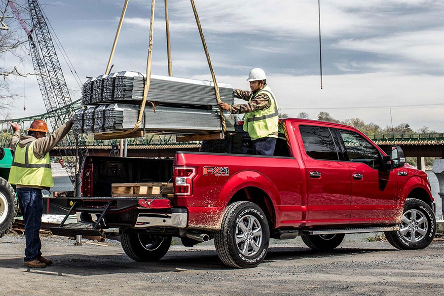 2019 Ford F-150 with something in the Bed