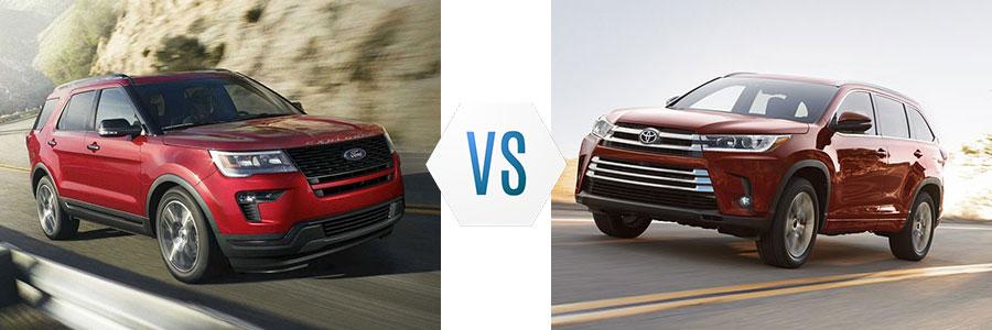 2018 Ford Explorer vs Toyota Highlander