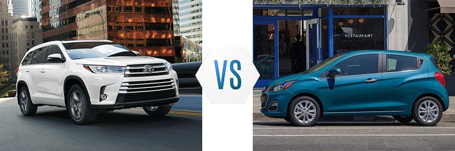 2019 Toyota Highlander vs Chevrolet Spark