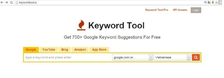 Giao diện Keywordtool.io