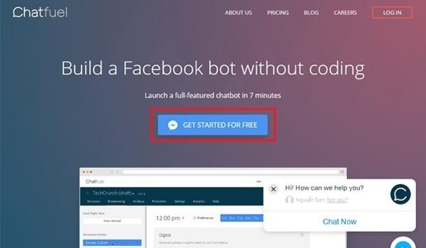 Log in tài khoản Facebook để tạo chatbot
