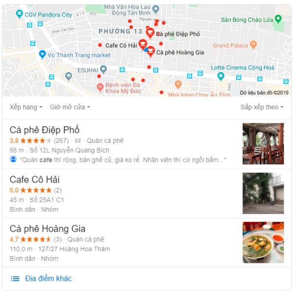 review địa điểm trên Google Maps
