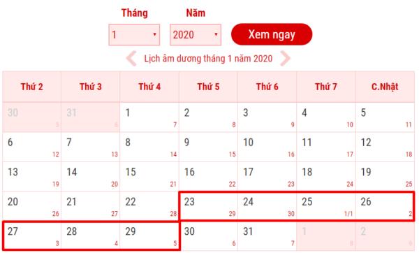 Tết âm lịch 2020 (Canh Tý) dự kiến sẽ được nghỉ 7 ngày