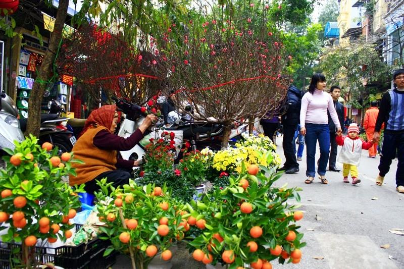 Chợ Tết dễ nhận thấy với sự xuất hiện của đào, quất, hoa