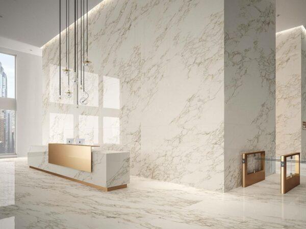 Gạch vân đá sử dụng phổ biến trong các thiết kế nội thất